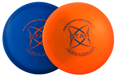Orange and blue frisbees made from TPE