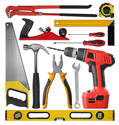 Picture of various hand and power tools, made with TPE grips and parts