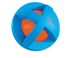 Picture of an orange and blue TPE chew toy for a dog