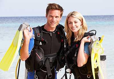 Picture of a couple with their TPE water sport snorkel equipment
